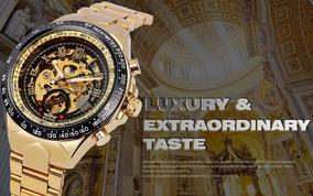 Relogio Masculino Esqueleto Automatico Dourado/preto Luxo.