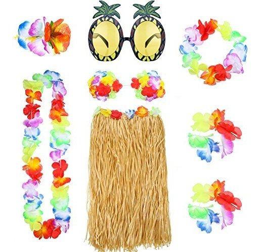 8 Piezas Hawaiian Hula Falda Con Collar Pulsera Diadema Bik