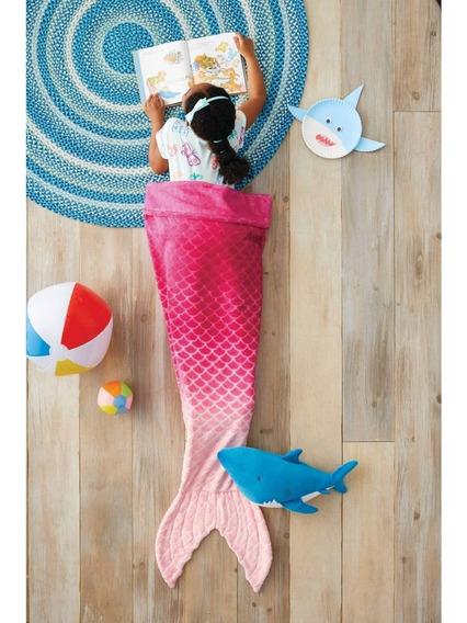 Sirena Rojo Coral Cobija De Cola De Mermaid Importada Suave