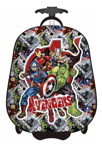 Mochila Rígida Avengers C/ Carro Infantil Valija 16 Pulgadas