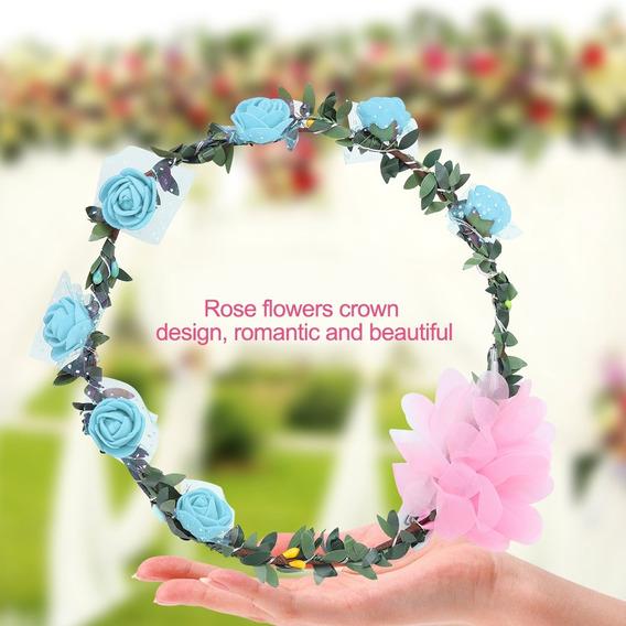 Durable Luz Arriba Flor Corona Led Rose Flores Luces Hermoso