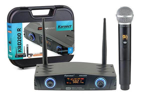 Microfone Sem Fio Karsect Krd200 R Mão Recarregável + 3 Meses De Garantia + Nota Fiscal