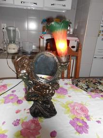 Abajur Mulher E Anjo E Flores Cúpula De Murano