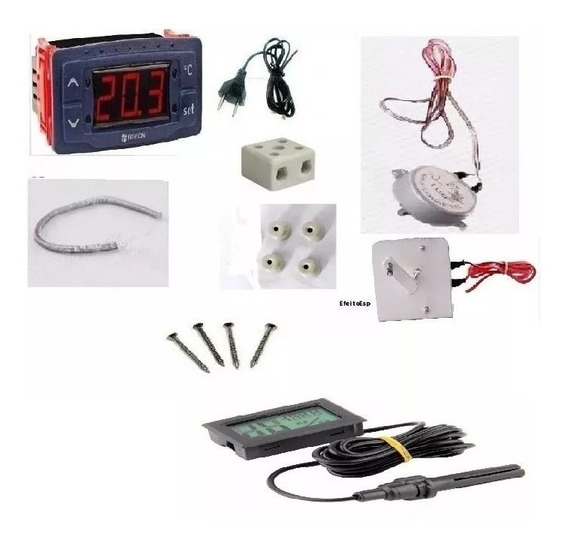 Kit Chocadeira Termostato, Resistencia,isoladores, Motor, Termohigrometro - Medidor De Umidade.só Aqui!