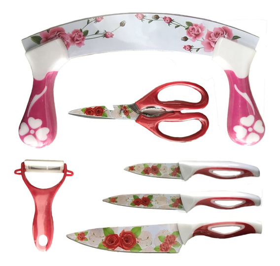 Kit Conjunto Facas - Descascador - Tesoura - Floral Color