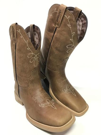 Bota Texana Jácomo Feminina Tradicional Bico Quadrado