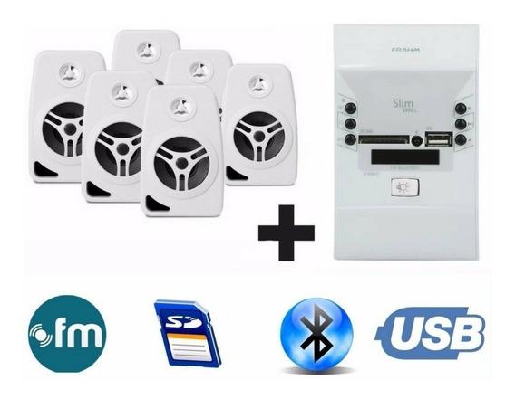 Som Ambiente Bluetooth + 6 Caixas Branca Suporte Parede