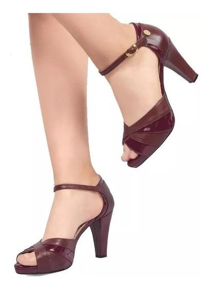 Calzado Zapatilla Dama Mujer Comodo Tintos Tacon 8cm Vino