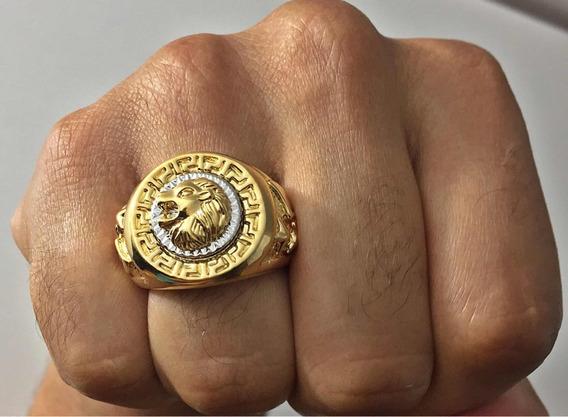 Anel Leão Brasão Banhado A Ouro 18k Símbolo Leão De Judá