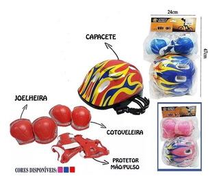 Kit Protecao Infantil Capacete Patins Bike Skate