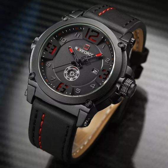 Relógio Masculino Naviforce 9099 Pulseira De Couro Original