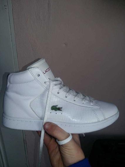 Zapatillas Lacoste Blancas Botitas Usadas Buen Estado 5us