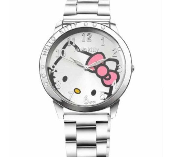 Relógio De Pulso Hello Kitty Prata Pulseira Aço!!
