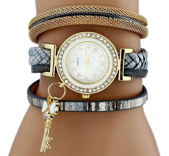 Kit 5 Relógio Feminino Pingente Chave Frete Grátis