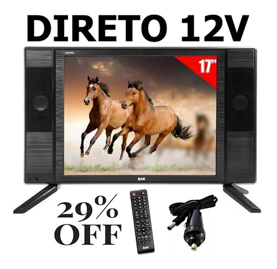 Tv 17 P Digital 12v Digital Carro Moto Home Caminhão 12 Volt