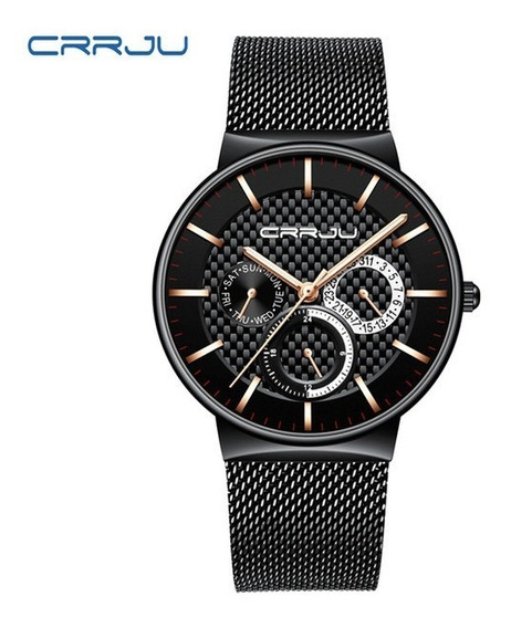 Relógio Masculino Preto/gold Casual Crrju 2153