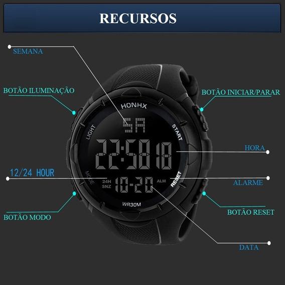 Relógio Led Digital Honhx Masculino Esportivo + Caixa Acril