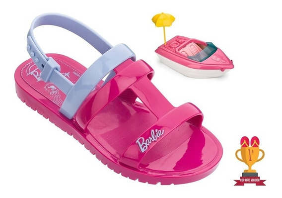 Sandália Barbie Acompanha Brinde Brinquedo Barco Iate 65 Cm Grendene Kids Original Calçado Solado Antiderrapante