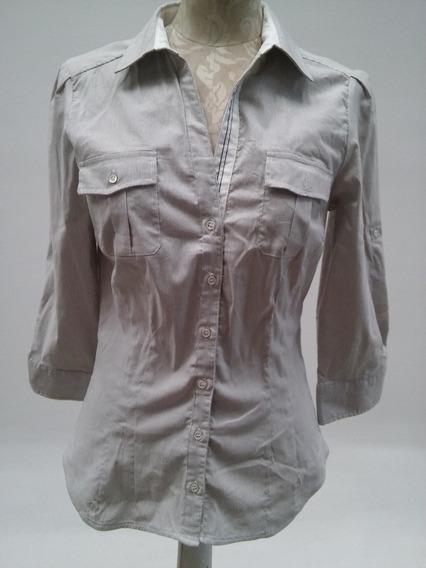 Camisa Mujer Manga ¾ Zara De Algodón Elastizado T Xs
