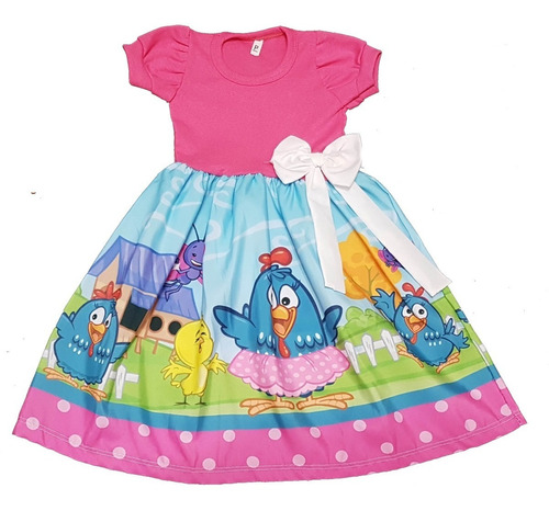 Vestido Infantil Galinha Pintadinha Rosa M Longa E Mc Fab2