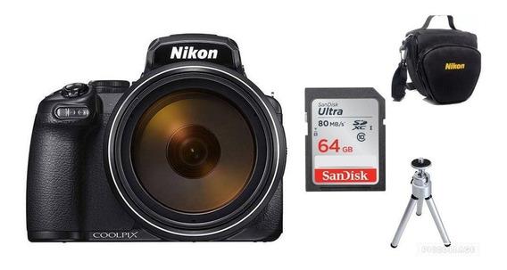 Câmera Nikon Coolpix P1000-4k Zoom 125x+64gb+bolsa+tripé