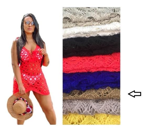 Saída Praia Curta Regata Alça Alcinha Feminina Tricot Verão