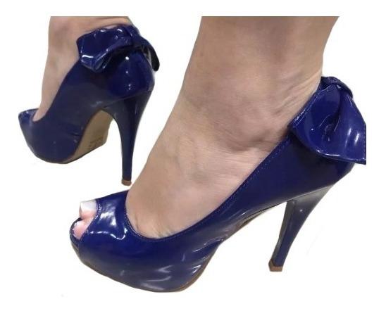 Peep Toe Azul Escuro Laço Verniz Meia Pata Salto Alto Fino