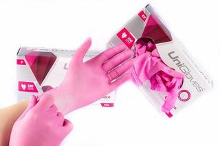 Luva Latex Rosa Pink Unigloves Com Pó Caixa C/ 100 Original
