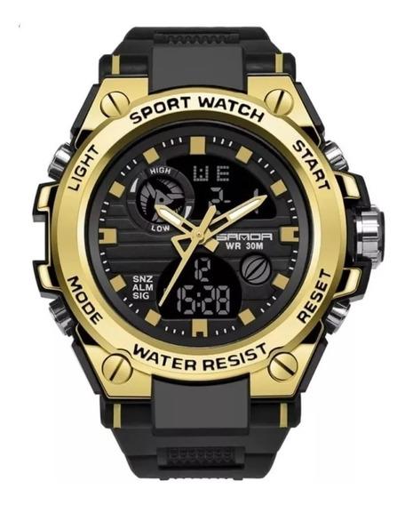 Relógio Sanda Masculino Aço Grande Todo Funcional + Cx - Top