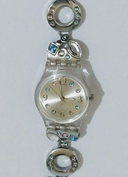 Reloj Para Dama Swatch Con Piedras De Color Pastel Usado