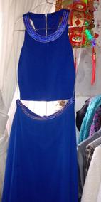 Vestido De Gala Color Azul Talla S Con Detalles En Dorado