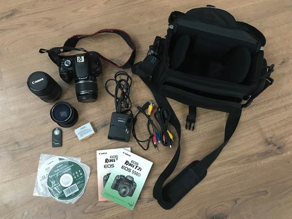 Câmera Canon T2i Completa! 3 Lentes! Semi Nova!