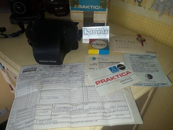 Máquina Fotográfica Antiga Prátika Na Caixa Com Manuais