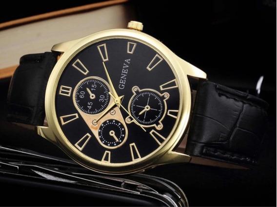 Relógio Masculino Geneva Pulseira Couro Preto Luxo
