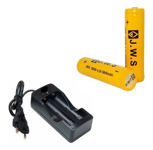 Imagem 1 de 1 de Carregador + 2 Bateria 18650 4,2v 8800mah Com Chip