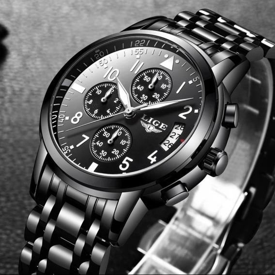 Relógio Masculino Preto Marca Lige 9825 Original Luxo