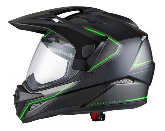 Capacete Moto X11 Crossover X2 Cross Big Traill Preto Verde