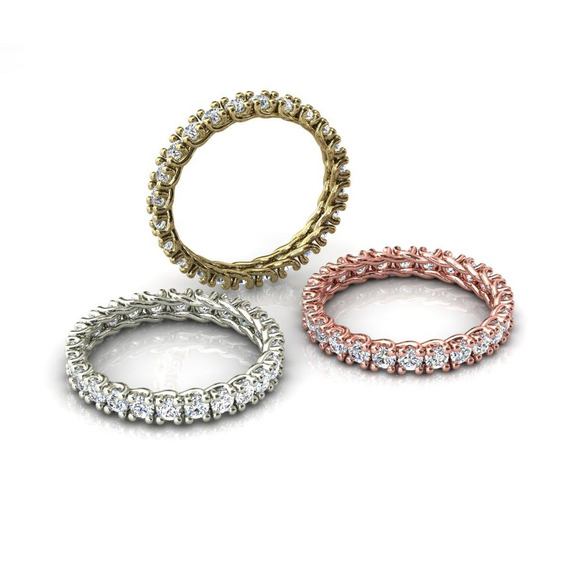 3 Alianças Pedras Redondas Ouro Amarelo - Cor Branco/rosa
