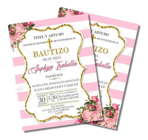 Invitaciones De Bautizo Niña Digitales Personalizadas