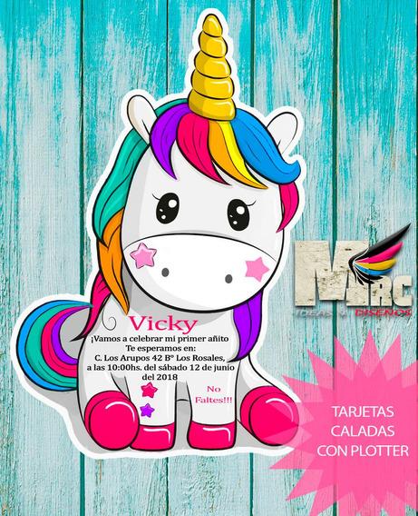 10 Invitaciones De Cumple Pony Cortadas Caladas