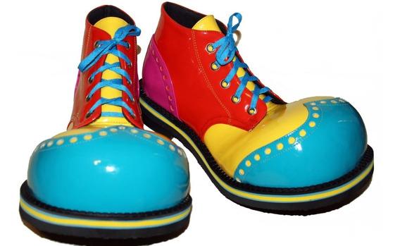 Zapatos De Payaso Profesionales Azul-amarillo-naranja-fuchsi