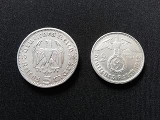 Lote, Kit 2 Moedas Prata Alemanha Reichsmark + Cédula 1910