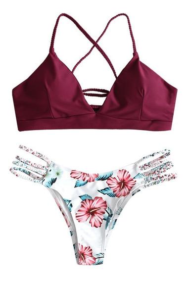 Bikini Zaful Con Tiras Trenzadas Y Estampado De Flores