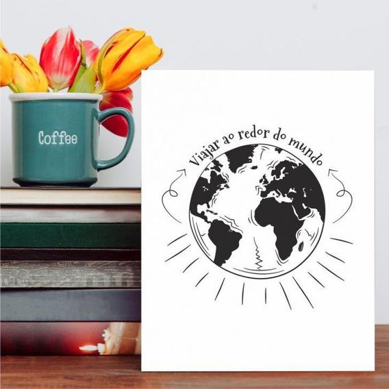 Placa Decorativa Frase Viajar Ao Redor Do Mundo 20x30cm Mdf