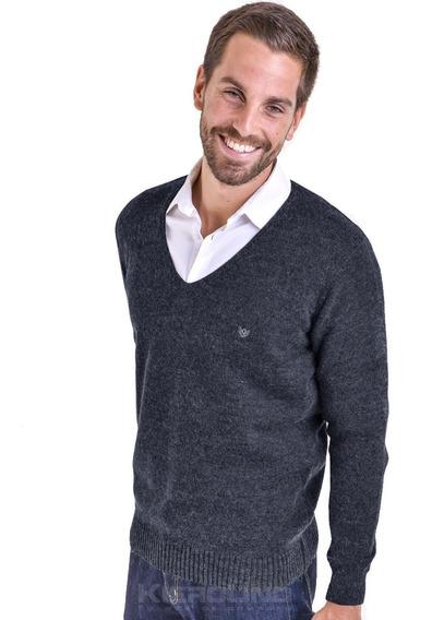 Sweater Hombre Pullover Escote En V Saco Lana Kierouno