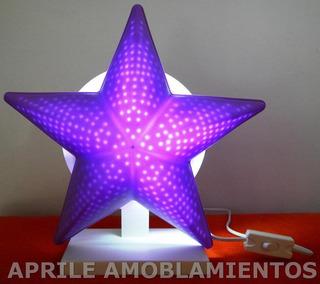 Velador Estrella Efecto Led Base Laqueada Infanfil Juvenil