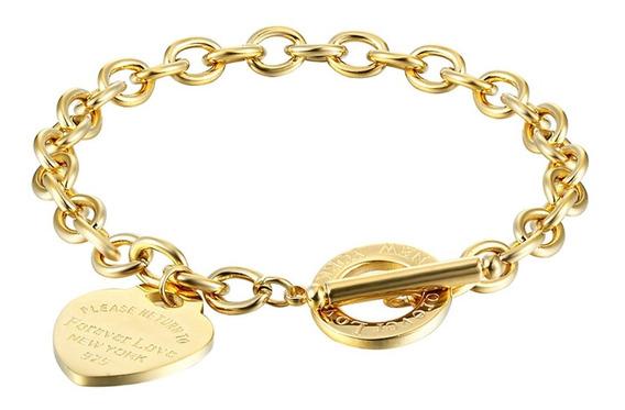 Pulseira Feminina Dourada Coração Cristais Presente C597