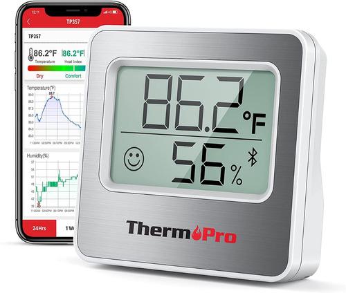 Imagen 1 de 9 de Termómetro Higrómetro Digital Bluetooth Thermopro Tp357 Indo