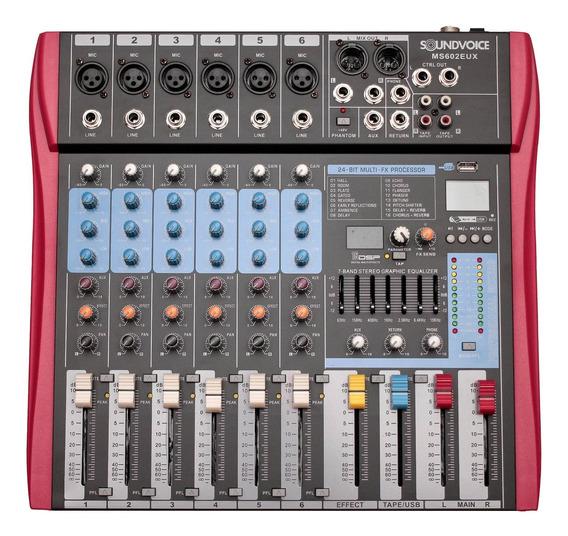 Mesa De Som 6 Canais Eq Efx Grava Usb Ms602eux Soundvoice