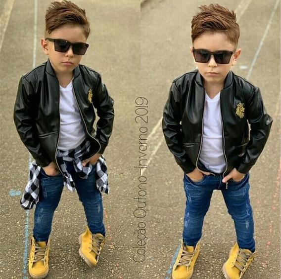 Conjunto Roupa Menino Jaqueta + Camiseta + Calça Jeans